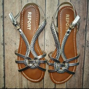 Report Gold & Silver Greek Style Sandals